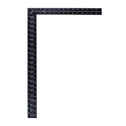 POWERTEC 80008 Steel Framing Square with Rafter Tables | 16-Inch by 24-Inch L Shaped Tool - Black