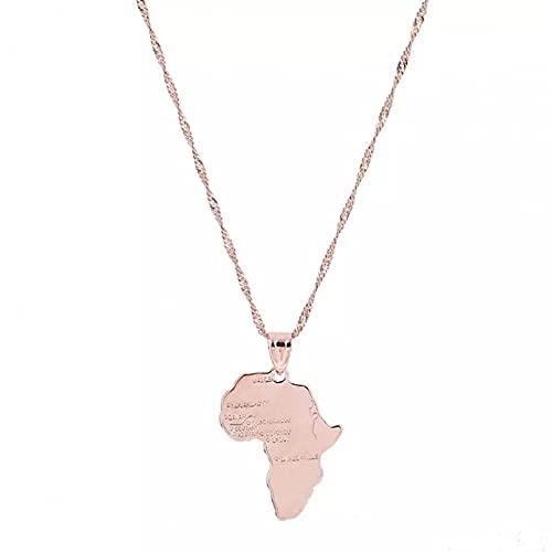 WDBUN Collar Colgante Collar con Colgante de Mapa Africano Hippie de Oro Rosa, joyería de Cadena de Mapa Africano para Hombres y Mujeres Navidad Día de la Madre Día de San Valentín cumpleaños Regalo