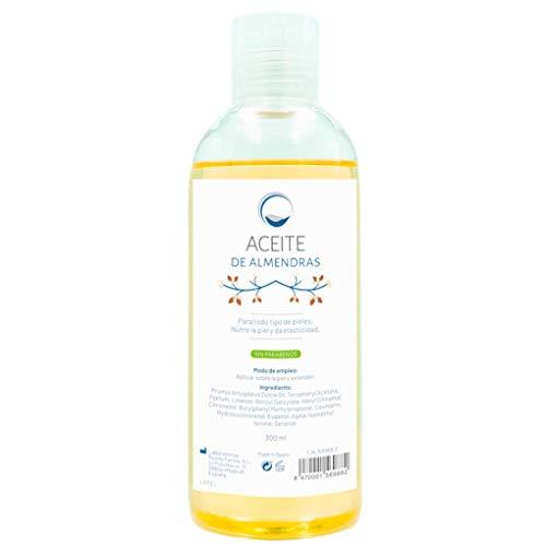 Aceite de Almendras Dulces Puro 100% natural - Hidratante Antiestrías Regenerante Antioxidante - Suavizante para Ezcemas y Piel Seca - Ideal Mascarilla Capilar - Cara Cuerpo y Cabello - 300 ml