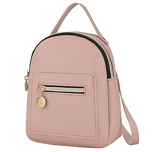 Edinber Mochila de cuero de la PU para las mujeres lindo casual Daypack con cremallera bolsillos Crossbody Convertible Bolsas de hombro