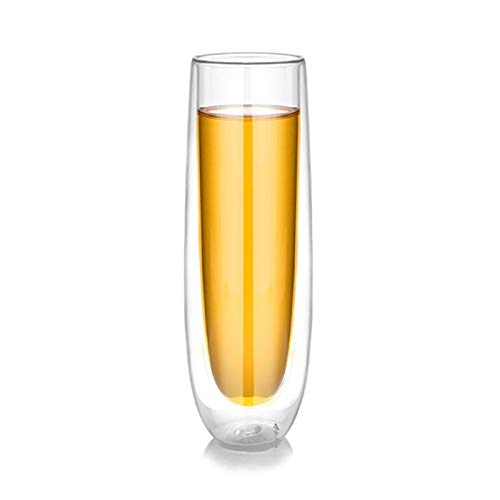 WENYOG Copas De Vino Doble Pared de Cristal del Vaso de Diseño Champagne Cocktail Red Wine Vasos Altos 08 (Color : Clear, Size : 150ml)