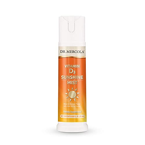 Dr. Mercola, Sunshine Mist Vitamin D3 Spray (5000 IU) Dietary Supplement, 0.85 FL. oz. 25 mL, (36 Servings), Supports Heart and Immune Health, Non GMO, Soy Free, Gluten Free