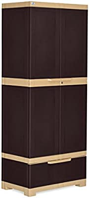 Nilkamal Freedom FMDR 1B Plastic Storage Cabinet with 1 Drawer (Weathered Brown & Biscuit)