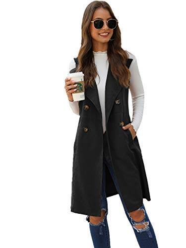 SheIn Women s Double Breasted Long Vest Jacket Casual Sleeveless Pocket Outerwear Longline Black Medium