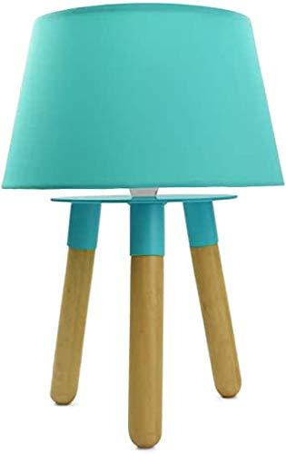 Nachttischlampe aus Massivholz/Metall mit Stoffschirm - Tischlampe Nachtlicht Tischleuchte Holz Schreibtischlampe E14 (Türkis-)