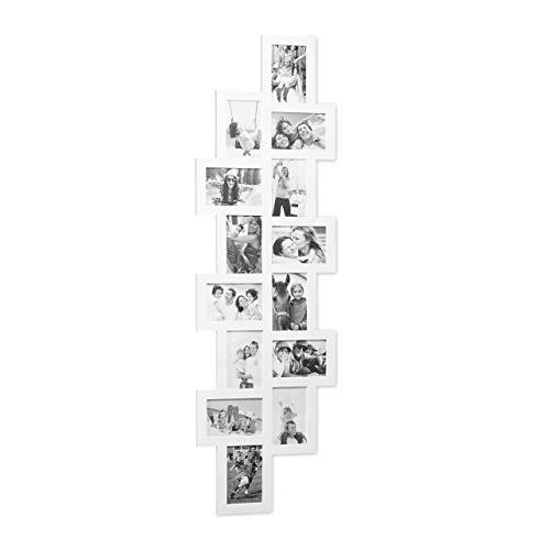 Relaxdays 10021994_49 Cornice per 14 Foto Porta-fotografie Multiplo XXL Collage Multifoto da Appendere H x L: 118 x 36 cm ca Bianco, plastica