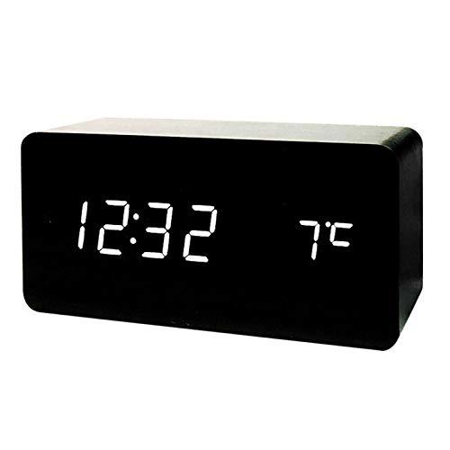 Yi-xir Fashion Design Alarma Reloj Digital Reloj de Reloj de Voz de Control de Voz Ajuste de Nivel de Alarma Reloj de Alarma Multifuncional Negro Wireless Portable Travel