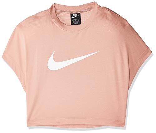 Nike W NSW SWSH TOP CROP SS Maglietta Donna, Multicolore (Rosé-Gold/White), XL