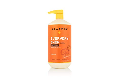 Alaffia EveryDay Shea Body Lotion - Normal to Very Dry Skin, Moisturizing Support for Hydrated, Soft, and Supple Skin with Shea Butter and Lemongrass, Fair Trade, Unscented, 32 Ounces