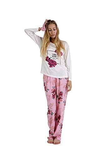 Pijama Mujer de 2 Piezas-Pijama de Algodón 100%-Pijama de Primavera Verano, Modelo Floral Design