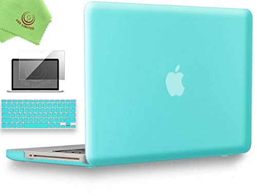 UESWILL 3 in 1 Smooth Matte Hard Shell Case Cover for MacBook Pro 13' with CD-ROM (Non-Retina) (Model A1278) + Keyboard Cover and Screen Protector + Microfibre Cleaning Cloth, Turquoise