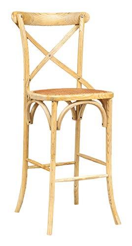 Biscottini Taburete de bar de madera maciza de fresno y asiento de ratán, acabado natural, 46 x 42 x 118 cm