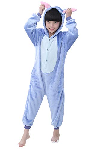 YAOMEI Nios Onesies Kigurumi Pijamas, Nia Traje Disfraz Capucha, Ropa de Dormir Halloween Cosplay Navidad Animales de Vestuario (140 para Nio Altura 130-140CM (51'-55'), Puntada)