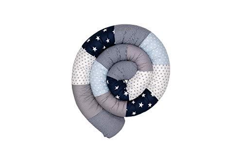 ULLENBOOM ® Baby Bettschlange 300x13 cm Blau Hellblau Grau (Made in EU) - Nestchenschlange für das Babybett, Bezug: 100% ÖkoTex Baumwolle, Bettrolle zur Bettumrandung im Kinderbett, Motiv: Sterne