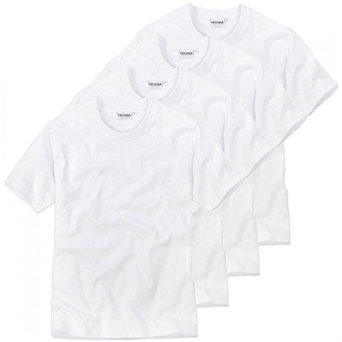 Ceceba 4 er Pack Herren Rundhals T-Shirt, American Shirt, Unterhemd - Übergrößen, Grösse:L - 6-52;Farbe:Weiss
