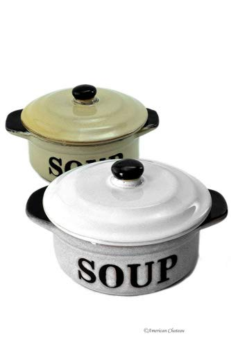 Set 2 Stoneware Vintage-Style 10oz French Onion'Soup' Crock Bowls with Lids