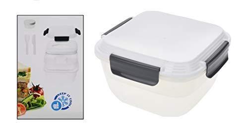 Lunchbox mit Kühlakku 5 teilig + Besteck und Saucenbehälter, getrennte Zwischenablage Aufbewahrungsdose 1,8 l Brotzeitbox Brotdose Kinder auslaufsicher Brotzeitdose Kinder für Kinder und Erwachsene