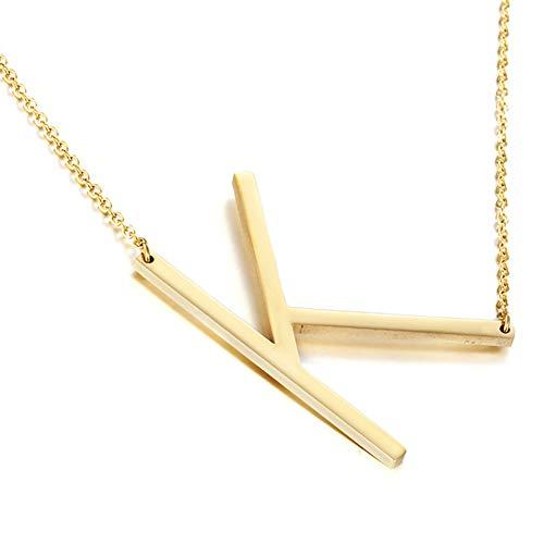 MOMOL Sideways Initial Necklace 18K Gold Plated Stainless Steel Large Big Letter K Pendant Necklace Script Name Monogram Necklaces for Women (K)
