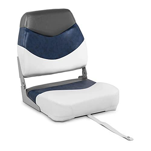 MSW Asiento de Barco Sillón para Barca MSW-MBS-09 (Dimensiones: 40x42x51 cm, Color: blanco y azul, Material del asiento: plástico moldeado (PP y fibra de vidrio) + cuero)