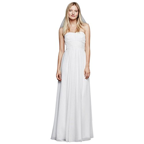 David's Bridal Chiffon Wedding Dress with Strapless Ruched Bodice Style INT15555, White, 6