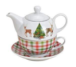 MC Trend - Set di 3 teiere con piattini natalizi, motivo cervo, tè invernale e serenità, idea regalo