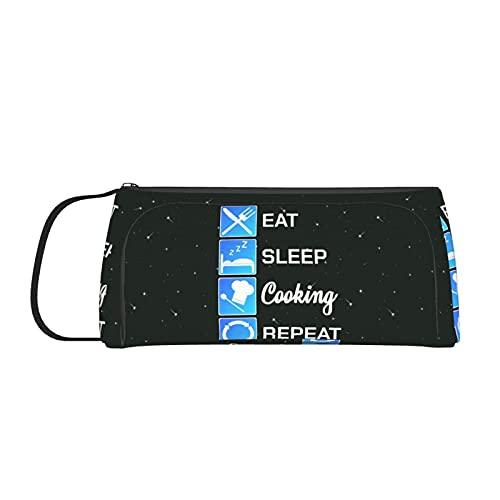 Chef Eat Sleep Cook Repeat Federmäppchen für Mädchen, Jungen, Frauen, große Kapazität, Make-up-Tasche mit Griff