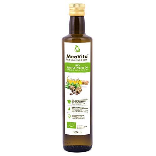 Aceite de Bio Sacha Inchi MeaVita, 100% puro y prensado en frío, 1 paquete (1 x 500 ml)