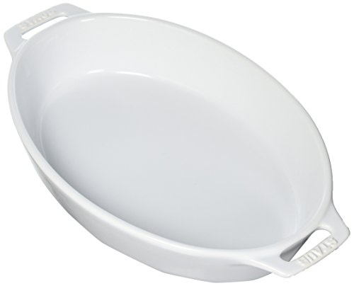 STAUB Ceramics Oval Baking Dish, 11-inch, White