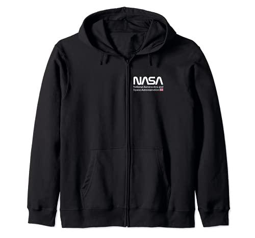 NASA Shirt, Worm Logo Chest Insignia USA US Flag Graphic Felpa con Cappuccio