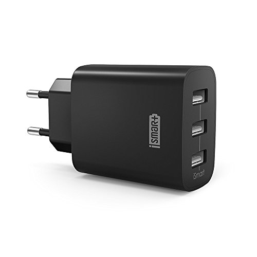 RAVPower Caricatore USB a 3 porte, da 30 W, 5 V e 6 A, con tecnologia iSmart, compatibile con iPhone 11 Pro Max XS XR X 8/7/6, iPad, Galaxy S9 S8 Plus, LG, Huawei, HTC, Powerbank, MP3, ecc.