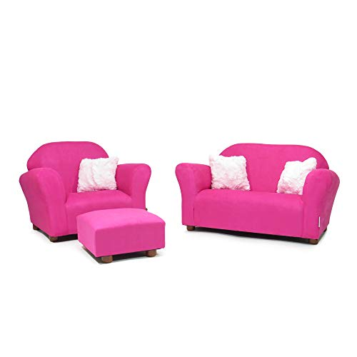 Keet Plush Childrens Set Sofa, Chair & Ottoman, Hot Pink