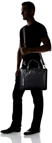 Calvin Klein Men's Slim Attache Briefcase, Black/Matte Black, One Size