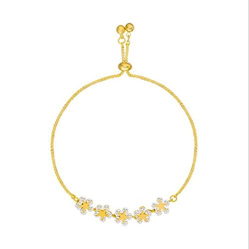 Libartly Pulsera Coreana para Mujer, Pulsera con Flor de Cristal y Mariposa, Regalo de cumpleaños para Mujer, joyería de Lujo, Oro 22Cm