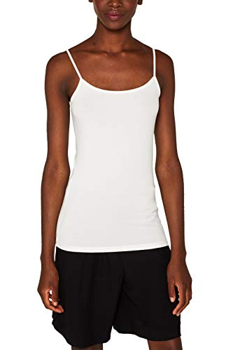 ESPRIT Collection 997eo1k809 Camiseta sin Mangas, Blanco (Off White 110), X-Small para Mujer