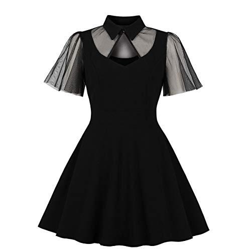 Wellwits - Vestido de cctel para mujer, con mangas acampanadas, con abertura de malla, para mujer - Negro - 34-36