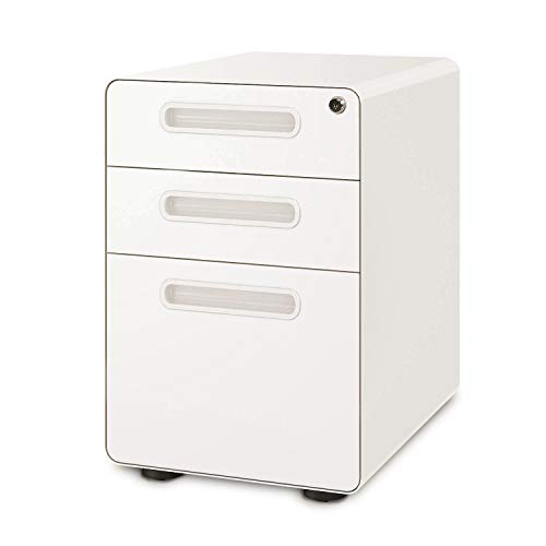 DEVAISE 3-Drawer Mobile File Cabinet with Anti-tilt Mechanism, Legal/Letter Size, White