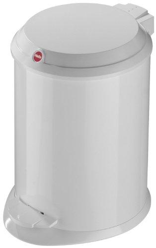 Hailo 0704-410 T1 S, Mülleimer aus Stahlblech mit Kunststoff-Deckel, 4 Liter, großer Öffnungswinkel, standfest, Tragegriff, weiss, made in Germany