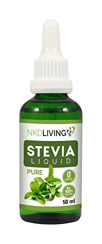 NKD Living Pure Stevia Liquid Drops 50ml - Pure Stevia, Unflavoured - with Glass Dropper (Other Flavors Also Available: Vanilla, Caramel, Chocolate)
