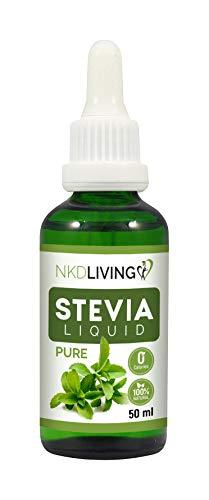 Gouttes de liquide de stévia pure 50 ml – Stévia pure, sans arôme ajouté - avec compte-gouttes en verre