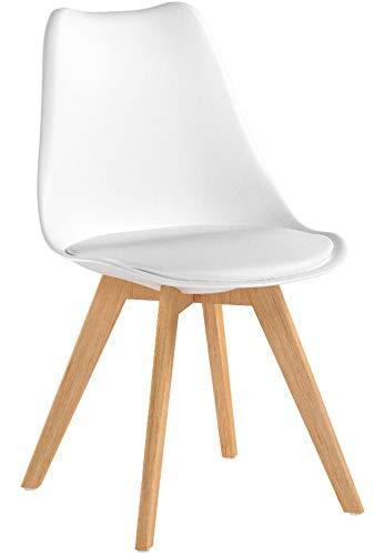 Mc Haus Lena Blanca X4 Pack de sillas Comedor, Madera/Acero/Polipropileno, 53.5x49x83 cm, 4 Unidades
