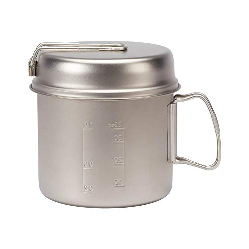 Snow Peak - Trek 1400 SCS-009T - Japanese Cookware Set Pot and Skillet, Ultralight and Compact for Backpacking and Camping, Made in Japan, Lifetime Product Guarantee, Titanium
