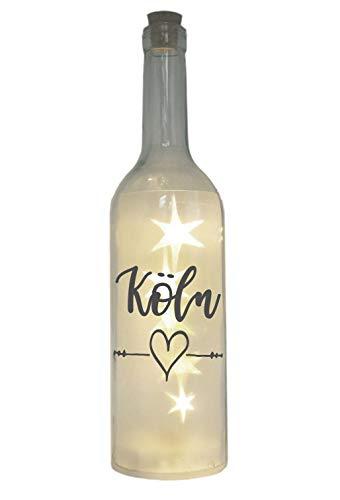 WB wohn trends LED-Flasche mit Motiv, Köln Herz, grau, 29cm, Flaschen-Licht Lampe mit Text Spruch Stadt