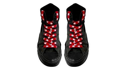kenai dark Schnürsenkel rot weiße Totenköpfe,Shoelaces red white skulls,Cordones calaveras blancas rojas,Crânes blancs rouges