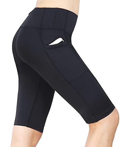 Neonysweets Womens Cycling Running Workout Tights Yoga Shorts Half Tights Black M