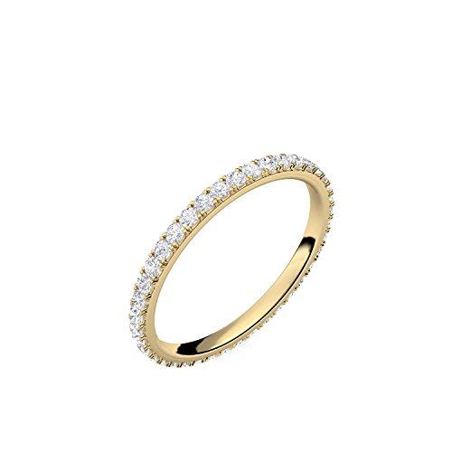 Ring Gold Verlobungsringe von AMOONIC mit Zirkonia (Silber 925 hochwertig vergoldet) Memoryring Vorsteckring Zirkonia Damenring Heiratsantrag Memory Memoire wie Diamantring FF589VGGGZIFA54