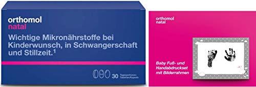 Orthomol Natal Tabletten/Kapseln Monatspackung plus Baby Fuß-und Handabdruckset mit Bilderrahmen