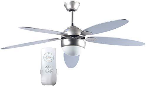 Sichler Haushaltsgeräte Ventilatorlampe: Großer Deckenventilator VT-997 m. Holzflügeln, Licht, Fernbed. Ø132 cm (Deckenventilator mit Beleuchtung)