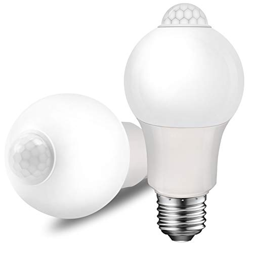 Motion Sensor Light Bulb, 8.5W (60W Equivalent), E26 4000K A19 Indoor Automatic Activated by Motion Dusk to Dawn Security Bulbs for Stairs, Entrance, Porch, Garage, Hallway 2 Pack