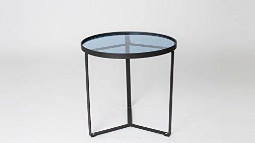 Möbel Akut Couchtisch in Blauglas stabiles Metallgestell schwarz Beistelltisch Kara