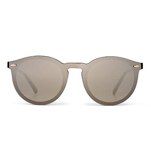 Gafas de Sol de Espejo Sin Marco Reflexivo Una Pieza Redondas Anteojos Para Hombre Mujer(Negro Brillante/Plateado Espejo)